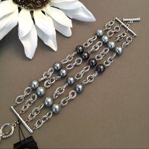 Cookie Lee Silver & Pearl Bracelet